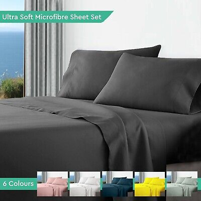 AU39 • Buy Ultra Soft Microfibre Bed Sheet Sets Flat Fitted Pillow Cases Queen King Double