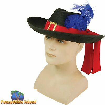 MEDIEVAL BLACK FEATHER MUSKETEER HAT Mens Fancy Dress Costume Accessory • 7.39£