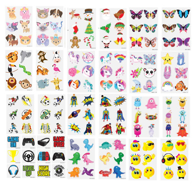 24 TEMPORARY TATTOOS Kids Childrens Girls Boys Party Bag Xmas Stocking Fillers  • 1.59£
