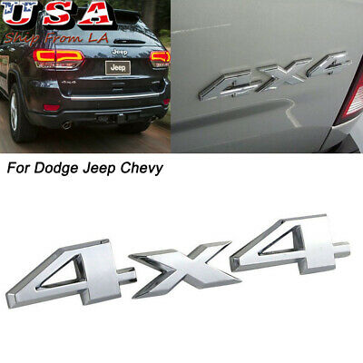 $5.99 • Buy 4X4 Chrome Emblem Silver Car Trunk Sticker Badge Decal For Jeep Chevy Toyota