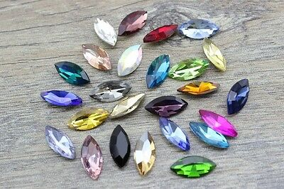 50pcs 4x8mm Nail Art Rhinestone Navette Crystal Glass Point Back DIY No Holes • 3.49£