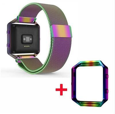 AU11.46 • Buy Colorful Milanese Loop Bracelet Watch Band Strap Frame Housing For Fitbit Blaze