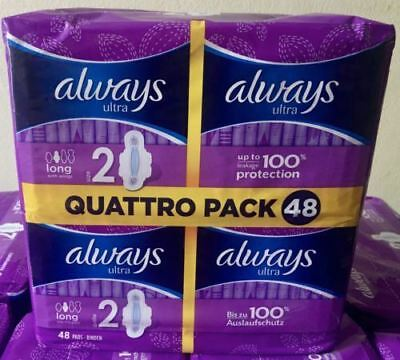 £7.98 • Buy Always Ultra LONG Sanitary Pad Towels With Wings Quattro Pack 48 100% Protection