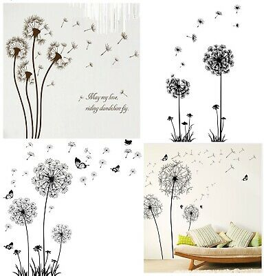 Black Creative Dandelion Butterfly Flower Wall Stickers For Room Decoration Art • 9.99£