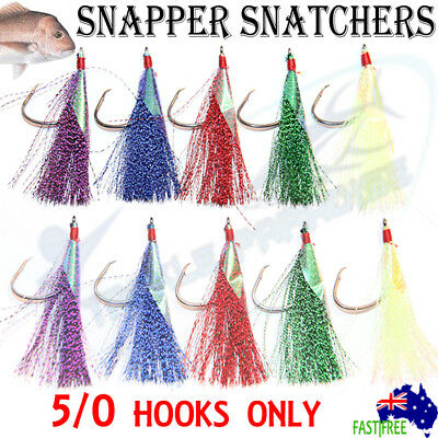AU9.95 • Buy 10x 5/0 Snapper Snatchers Flasher Circle Hooks Fishing Flashers Rig Paternoster