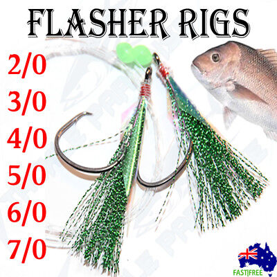 AU13.95 • Buy Green Snapper Snatchers Rigs Flasher Circle Hooks Fishing Rigz Paternoster Lumo