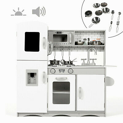 Deluxe Play Kitchen Kids Wooden Pretend Toy With Lights And Sounds UTENSILS Grey • 85.99£
