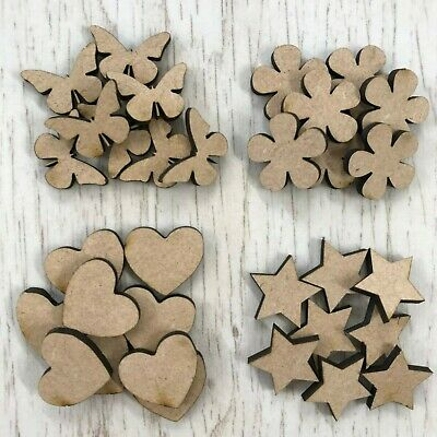 £0.99 • Buy MDF Wooden Stars Hearts Circles Butterflies Triangles Various Sizes & Quantities