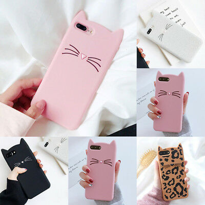 £6.35 • Buy For IPhone XS Max 8 6 Ultra-Thin Cute Cartoon Cat Ear Soft Rubber Gel Case Cover