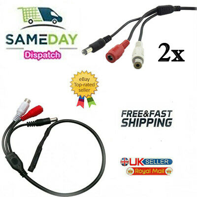 2 X Mic Voice Audio Microphone RCA Output Cable For CCTV Security Camera DVR (co • 4.88£
