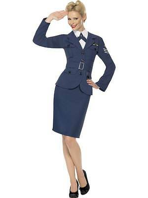 LADIES WW2 AIR FORCE CAPTAIN COSTUME 1940s ARMY PILOT UNIFORM FANCY DRESS OUTFIT • 23.99£