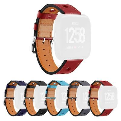 $ CDN6.91 • Buy Leather Porous Breathable Wrist Strap Bracelet Watch Band For Fitbit Versa