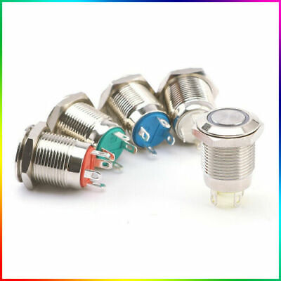 12V Metal Switch Momentary Horn Push Button - 12mm Boat LED IP67 Waterproof  • 3.39£