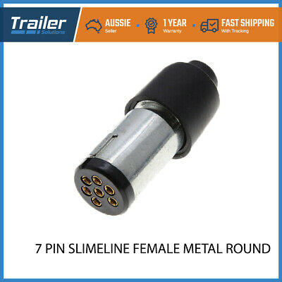 AU10.74 • Buy Trailer Plug 7 Pin Small Round Female Metal Slim Adapter Connector Caravan Boat