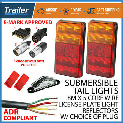AU49.21 • Buy Led Trailer Submersible Tail Lights Kit-plug,number Plate Light,5 Core Wire Boat