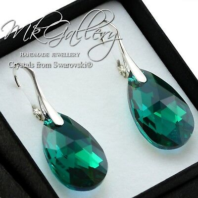 £29.99 • Buy 925 Sterling Silver Earrings/Set Crystals From Swarovski® 22mm Pear Emerald AB