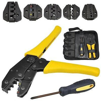 Insulated Cable Connector Terminal Ratchet Crimping Wire Crimper Plier Tool Kit • 14.99£