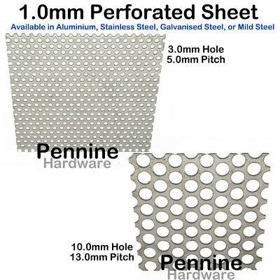 £6.55 • Buy PERFORATED 1.0 Mm Sheet Metal 4 Finishes 3 Or 10 Mm Ø Hole UK Trade Supplier