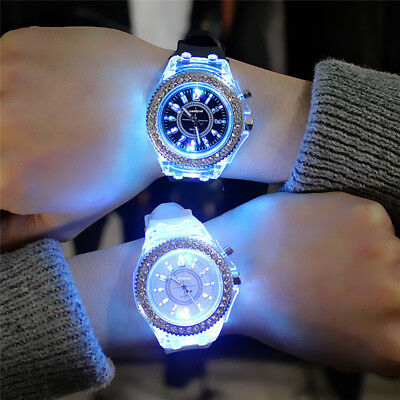 $ CDN5.94 • Buy Fashion Men Women Wrist Watch LED Backlight Crystal Quartz Silicone Band Sport