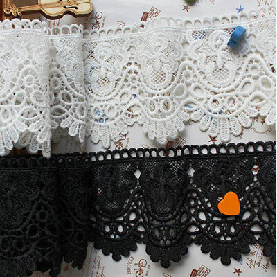 £2.19 • Buy Guipure Lace Trim Fabric Dress Trimming DIY Sewing Craft 12cm Wide White Black