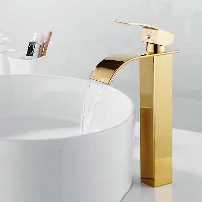 Tall Waterfall Bathroom Taps Basin Sink Mixer Tap Counter Top Gold Mono Faucet • 29.99£