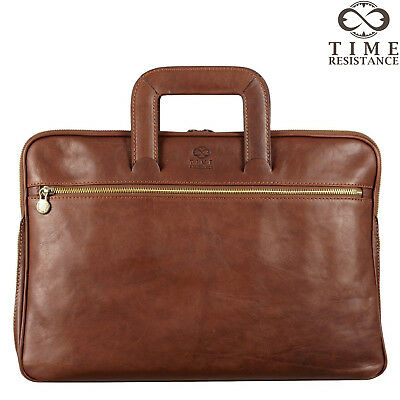 Italian Leather Mens Briefcase Laptop Bag Brown Business Genuine New • 147.23£