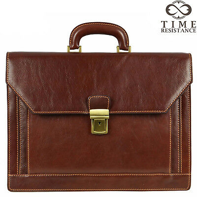 Leather Briefcase Laptop Bag Mens Dark Brown Business Made In Italy Genuine New • 160.62£