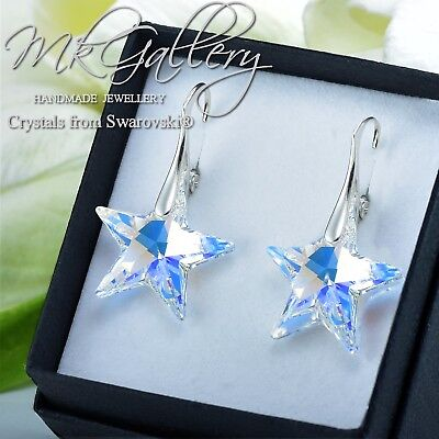 £16.99 • Buy 925 Silver Earrings/Necklace STAR - Crystal AB 20mm Crystals From Swarovski®
