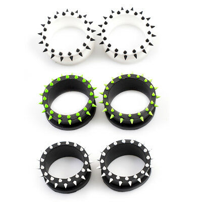 $9.75 • Buy Pair Of Silicone Tunnels / Plugs With Multiple Spikes Double Flared