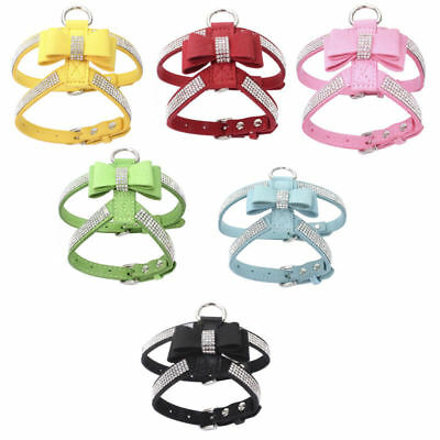 £8.99 • Buy Rhinestone Dog Harness Leather Bow Tie Bling Diamante Collar Crystal Pet Puppy