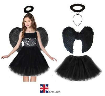 DARK ANGEL FAIRY COSTUME Feather Girls Halloween Fancy Dress Outfit Party Lot UK • 10.99£