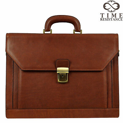 Leather Briefcase Laptop Bag Mens Brown Business Genuine Made In Italy New  • 200.77£