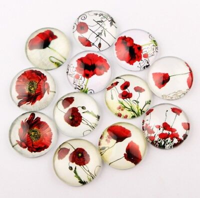 10 Poppy Flower Dome Cabochons Round Glass Cabochon Flat Back 10/14/20/25mm UK • 3.29£