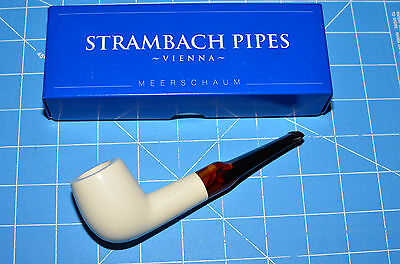 AU140.61 • Buy Billiard Hand Made MEERSCHAUM Pipe By STRAMBACH Austria (bauer) NEW 9mm Filter ☦