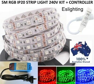 AU38.95 • Buy 5m Rgb 240v Dimmable Ip20 Led Strip Light With Dimmer Controller Flexible Colour