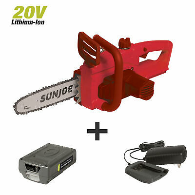 View Details Sun Joe 20V Lithium Ion Chainsaw 20-Volt | 10-Inch | W/Battery + Charger | Red • 70.12£