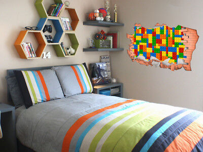 FULL COLOUR Lego Smashed Wall, Art, 3D Sticker, Decal, Transfer, • 14.95£
