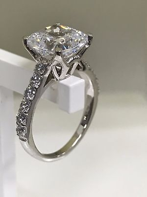 Solid Real 18k White Gold 2.50ct Cushion Cut Diamond Solitaire Engagement Ring • 369.99£