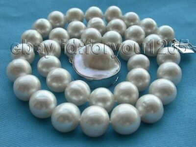 $149.99 • Buy Genuine Natural 12mm Round White Pearl Necklace 925SC Mabe Clasp #f367!