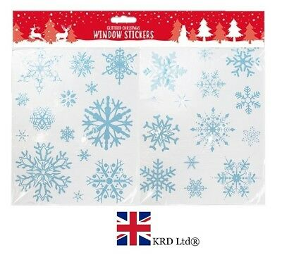 £3.54 • Buy 28 X CHRISTMAS SNOWFLAKES WINDOW STICKERS Decoration Xmas Decals Cling Snow UK