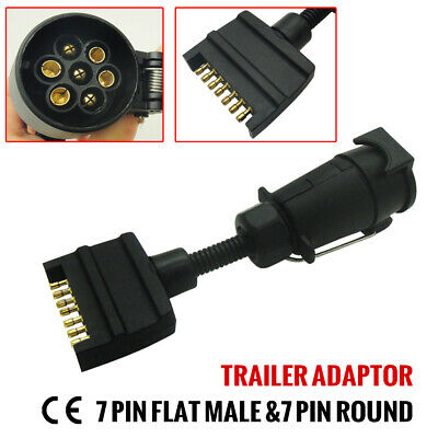 AU16.95 • Buy 1pc 7 Pin Round Socket To 7 Pin Flat Male Plug Trailer Adaptor Connector 12v