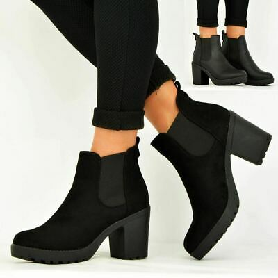 Ladies Womens Ankle Chelsea Boots Chunky Block Heels Platform Shoes Size Uk 3-8 • 14.99£