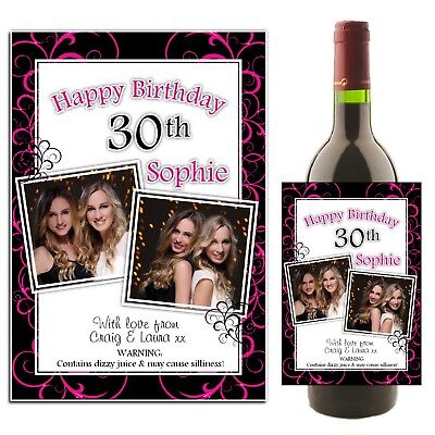£3 • Buy Personalised Wine Champagne Bottle PHOTO Label N37 Happy Birthday Any Age