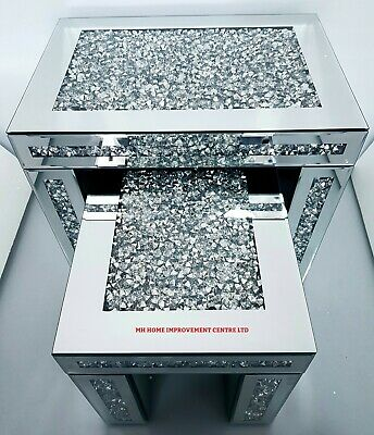 Diamond Crush Crystal Sparkly Silver Mirrored Set Of 2 Nested Tables Glitz • 299£
