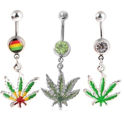 £2.39 • Buy 1Pcs Maple Leaf Belly Navel Ring Weed Button Body Piercing Jewelry Bar