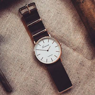 £10 • Buy Vintage Style Unisex Gold Look Fashion Watch With Leather NATO Strap