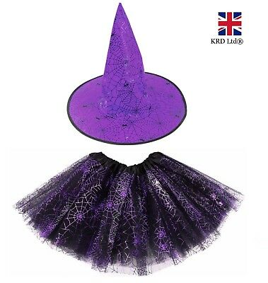 Adult Kids SCARY WITCH Fancy Dress Costume Halloween Ladies Girls Goth Outfit UK • 7.20£