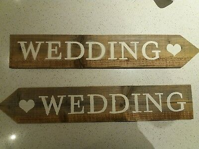 £7.99 • Buy Rustic Handmade Wedding Arrow Signs With Heart Detail (Left Or Right)