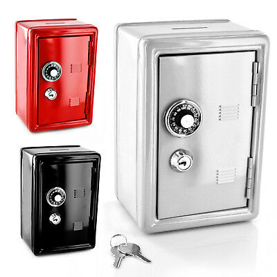 Safe Money Box Bank Metal 2 Keys With Combination Lock Coins Cash Security Piggy • 11.19£