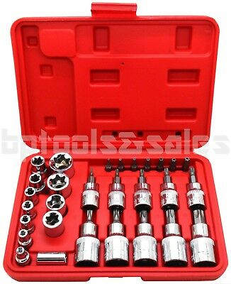 $27.99 • Buy 30pc Male Tamper Proof Star Bit & Female E Socket Set Torx Driver Bits Tool CR-V